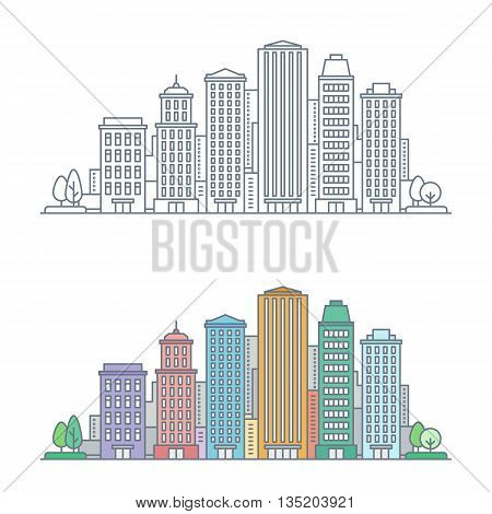 thin line cityscape. business center with skyscrapers and commercial buildings. linear city constructor. urban view landscape. flat outline style. isolated on white background. vector illustration