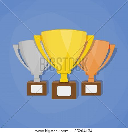 Gold, Silver and Bronze Trophy Cup with shadows. First place award. Champions or winners Infographic elements. Vector illustration.
