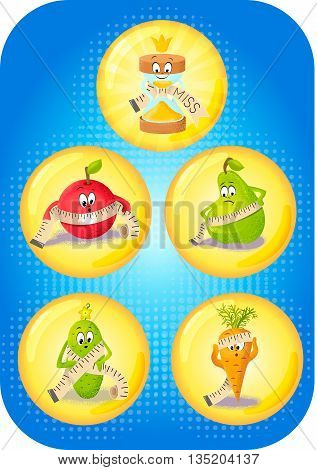 concept with overweight problems and types of figures in the form of funny fruits