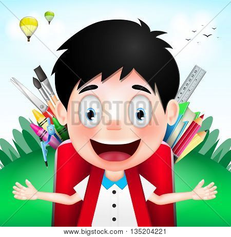 Smiling Boy Student Character Wearing Red Backpack full of School Supplies on A Cloudy Day. Vector Illustration