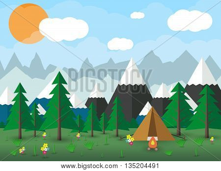 Summer Campsite with a campfire, Forest, Mountains, Sky, clouds, sun. travel and vacation concept. vector illustration in flat design