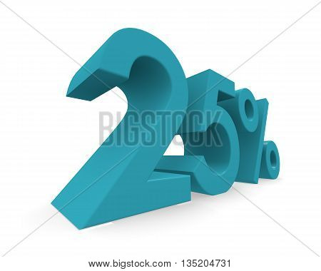 Twenty-five percent in turquoise on a white background 3d rendering
