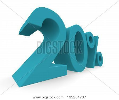 Twenty percent in turquoise on a white background 3d rendering