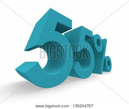 55 percent in turquoise on a white background 3d rendering