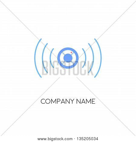 Detection device. Security service. Fire alarm.  Logo design. Vector