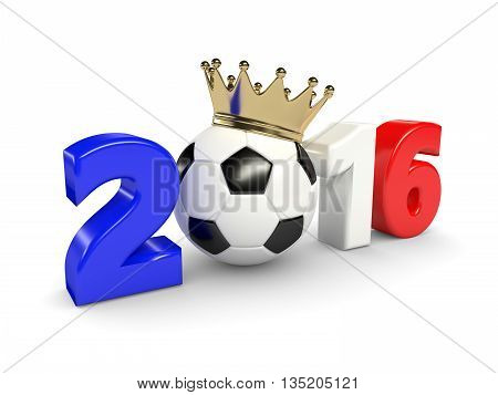 3D Rendered 2016 Year With Soccer Ball And Crown Isolated Over White