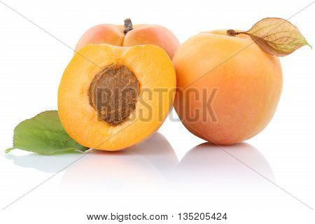 Apricot Apricots Fruit Fruits Isolated On White