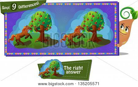 Visual Game for children. Task: find 9 differences. Fairy tale