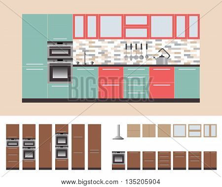 Kitcnen Cabinets with Kitchen Equipment, Oven, Microwave, Kitchen hood. Flat Vector Illustration for you Interior Design. Furniture Set 1
