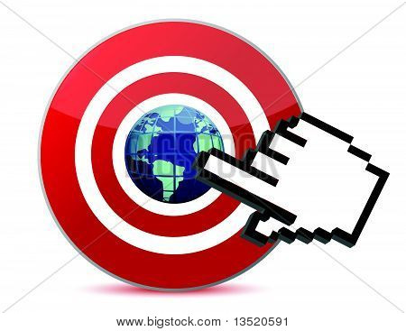 cursor hand clicks on search engine marketing SEM world