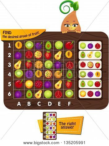 Visual Game for children. Task: find the desired group of fruit on a plate. Building on the attention.