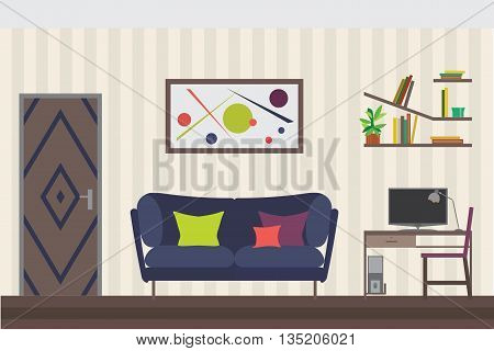 Furniture Set. Flat Vector Illustration for you Interior Design. Elevation with Door, Sofa, Table, Chair, Shelves and Clocks 3