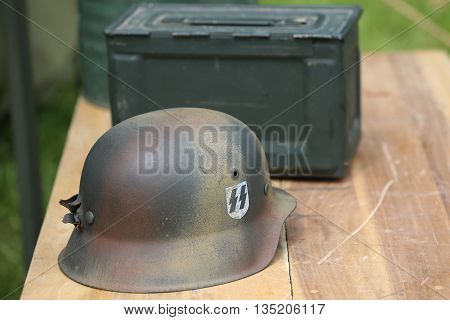 OLD BETHPAGE, NEW YORK - MAY 22, 2016: World War II German Army military memorabilia on display during World War II encampment in Old Bethpage, NY