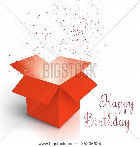 Illustration of Happy Birthday Realistic Magic Open Box. Magic Box with Confetti and Magic Light. Magic Gift Box with Magic Light Comming from Inside Isolated on White Background