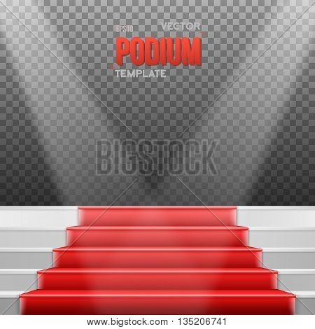 Illustration of Photorealistic Vector Stairs Podium with Red Carpet and Bright Luxury Event Background Isolated on Transparent Overlay Background