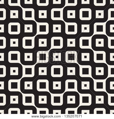 Vector Seamless Black And White Round Irregular Geometric Pattern. Abstract Geometric Background Design