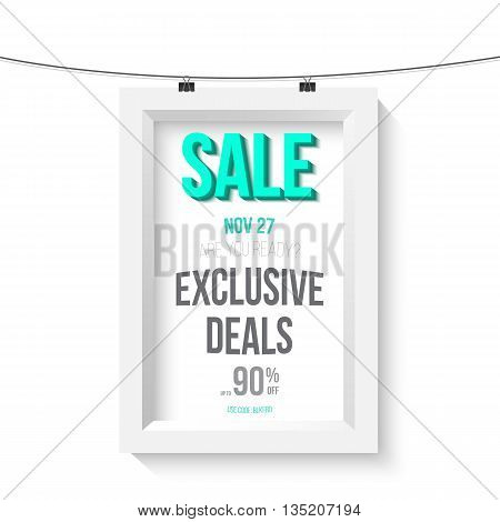 Illustration of Big Sale Poster Vector Wall Frame Mockup. Realistic Vector EPS10 Paper Sale Poster Isolated on White Background