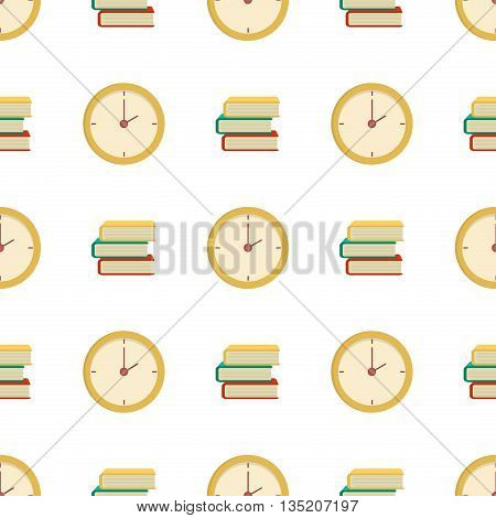 Seamless book pattern time clock vector. School supplies learning equipment and different school supplies colorful office accessories. Cartoon book and clock seamless pattern. Clock pattern.