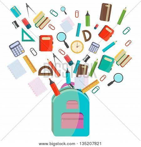 Vector illustration of Back to School supplies. School supplies learning equipment and different school supplies colorful office accessories. Back to school school supplies in school bag big set.