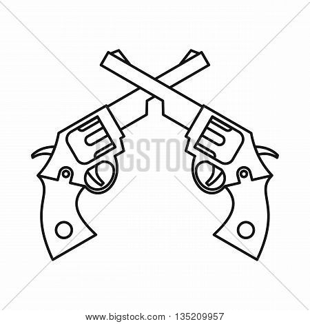 Revolvers icon in outline style isolated on white background