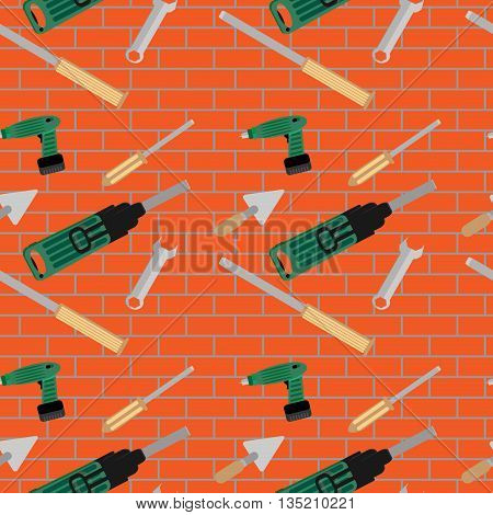 Seamless pattern with hand tools. Repair with screwdriver and punch wall brick pattern vector illustration