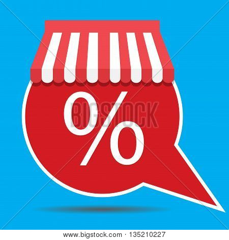Icon speech bubble with awning for sale sign discount and sale tag marketing and selling. Vector illustration