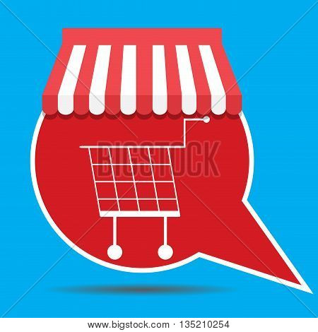 Label with shopping cart. Shopping cart icon and shopping basket for supermarket vector illustration