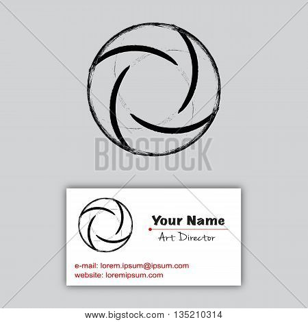 Vector letter O made with black grunge brushes, vector illustration. Logotype elements with business card example. Black grunge stroke circle. Realistic vector black smudge. Brush circle on gray.