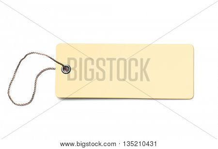 Yellow blank cardboard price tag or label isolated