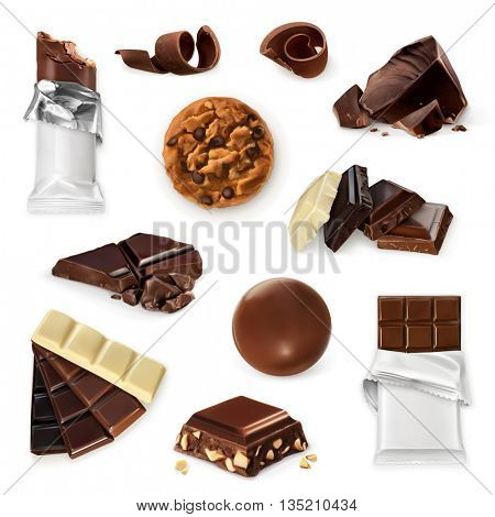 Chocolate, vector icon set. Different kinds of cacao products: energy bar, candy, chocolate pieces, slices, shavings, cookie. Delicious collection for dessert, advertising illustration for sweet shop