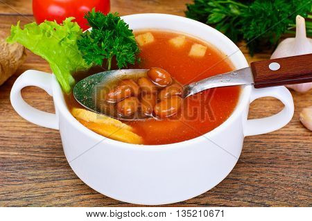 Soup with Tomato and Bean Studio Photo