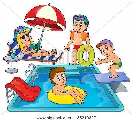 Children by pool theme image 3 - eps10 vector illustration.