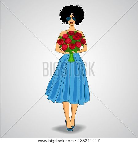 fashionable girl in blue skirt with red flowers