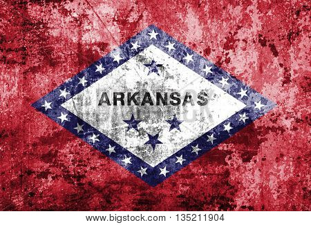 Arkansas Flag on grunge paper texture background