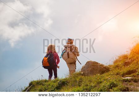 Girls of a family who make trekking