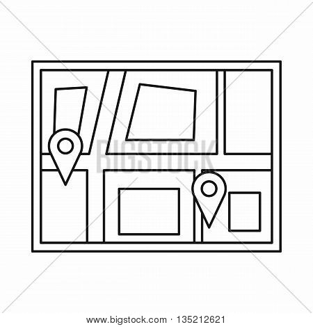 Geo location of taxi icon in outline style isolated on white background