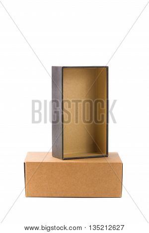Open And Closed Two Cardboard Box Or Brown Paper Package Box Isolated With Soft Shadow