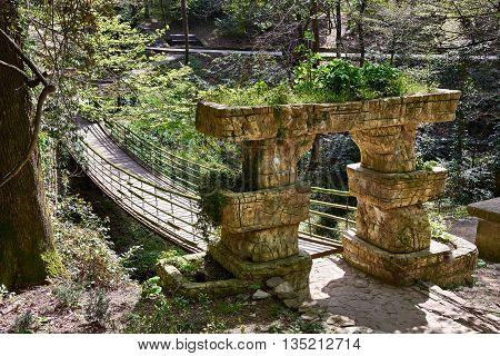 Suspension Bridge in the Park Arboretum Sochi