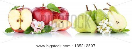 Apple And Pear Apples Pears Fruit Red Green Fruits Slice Isolated