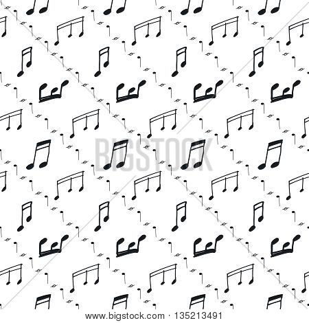Seamless pattern with music notes. Music seamless background, black and white. Vector notes