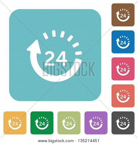 Flat 24 hour delivery icons on rounded square color backgrounds.