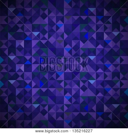 Blue Background with Geometric Shapes, Triangles. Old Mosaic. Blue-Mosaic-Banner. Geometric Hipster Blue Pattern with Place for Your Text. Graphic Template Background