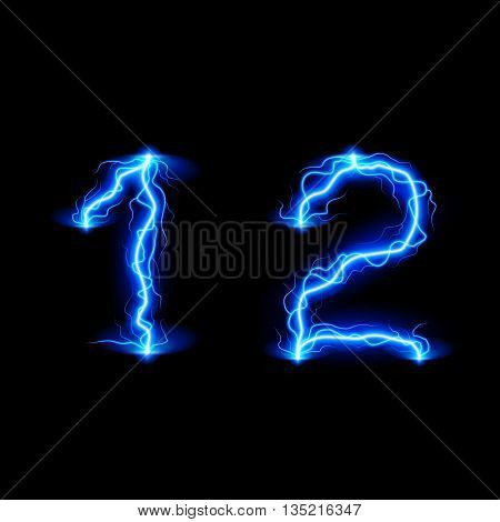 Numbers 1 and 2 in lighting style
