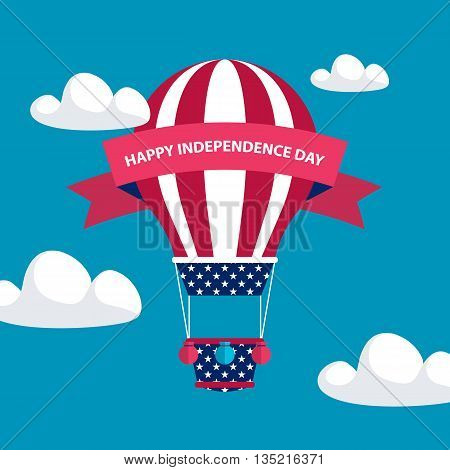 4th of july American independence day greeting card with hot air balloon in american flag colors with red ribbon. Flat design vector illustration.