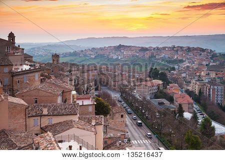 Small Italian Town Fermo Under Brignt Morning Sky