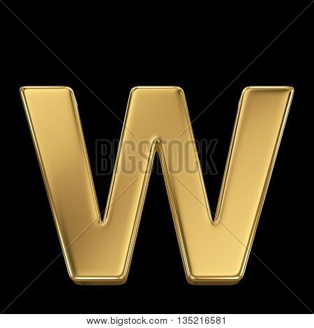 Golden shining metallic 3D symbol letter w - isolated on black