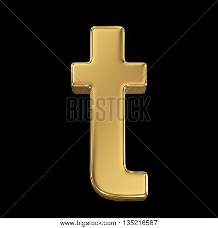 Golden shining metallic 3D symbol letter t - isolated on black