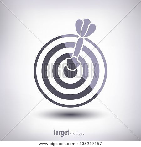 Target and dart. With highlights and shadows. On a gray background. Vector.