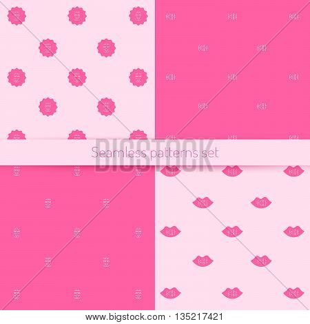 Vector seamless pattern of letters words on a pink background, suitable for printing on a variety of surfaces and textiles, girlish pattern