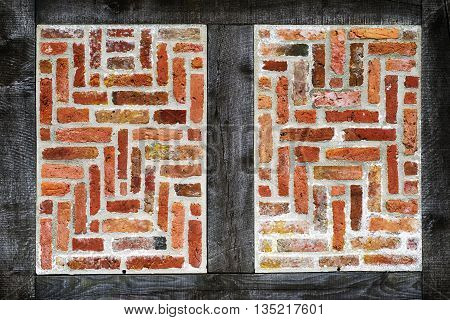 Old half-timbered brick wall texture closeup for backgrounds